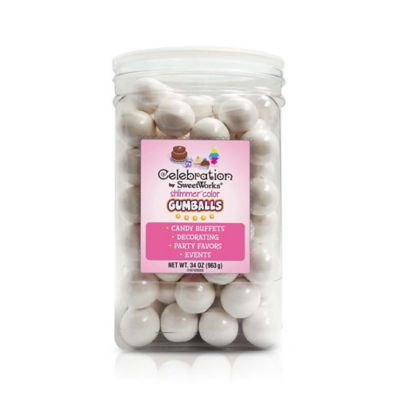 Celebration by SweetWorks® Shimmer™ Gumballs Party Jar in White