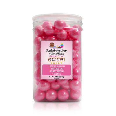 Celebration by SweetWorks® Shimmer™ Gumballs Party Jar in Bright Pink