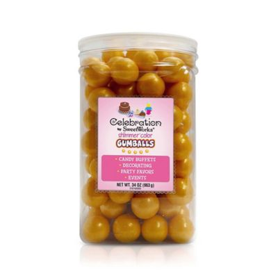 Celebration by SweetWorks® Shimmer™ Gumballs Party Jar in Gold