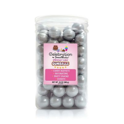 Celebration by SweetWorks® Shimmer™ Gumballs Party Jar in Silver