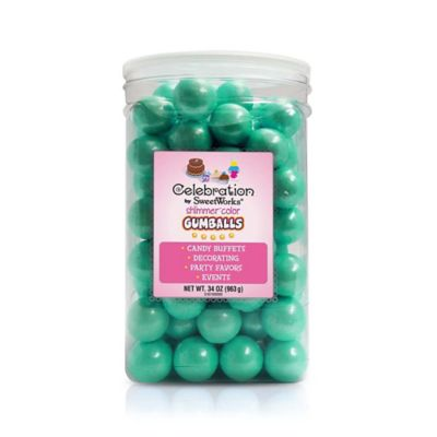 SweetWorks Shimmer™ Gumballs Party Jars in Turquoise
