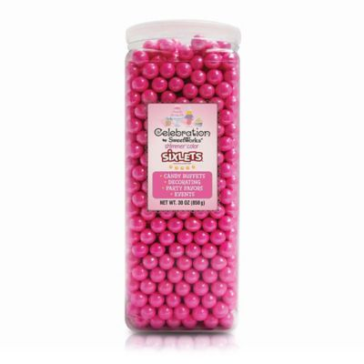 Celebration by SweetWorks® Shimmer™ Sixlets® Party Jar in Bright Pink