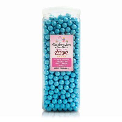 Celebration by SweetWorks® Shimmer™ Sixlets® Party Jar in Powder Blue