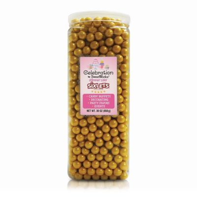 Celebration by SweetWorks® Shimmer™ Sixlets® Party Jar in Gold