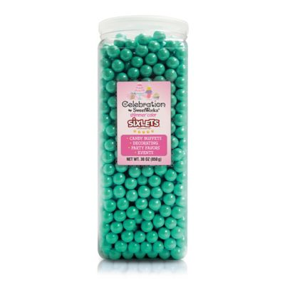 Celebration by SweetWorks® Shimmer™ Sixlets® Party Jar in Turquoise