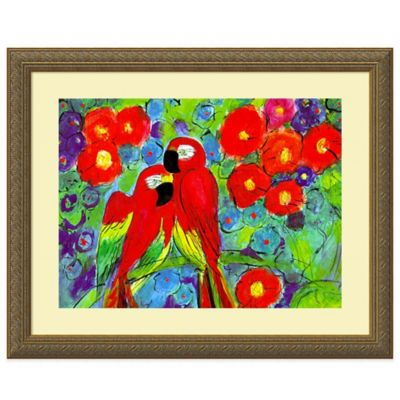 Robin Parrots with Flowers Print Wall Art