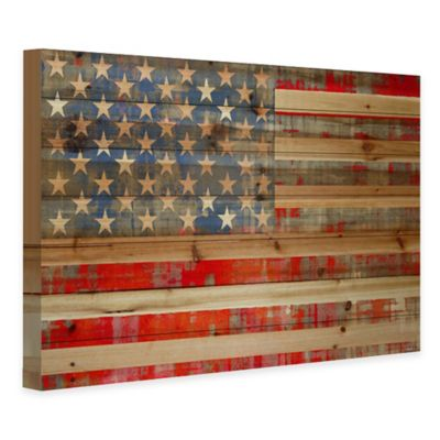 Parvez Taj Stars and Stripes Natural Pine Wood Ink Print Wall Art