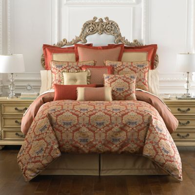 Waterford® Linens Olympia Reversible Queen Comforter Set in Persimmon