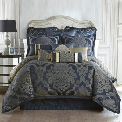 Waterford® Linens Vaughn Reversible King Comforter Set in Navy/Gold