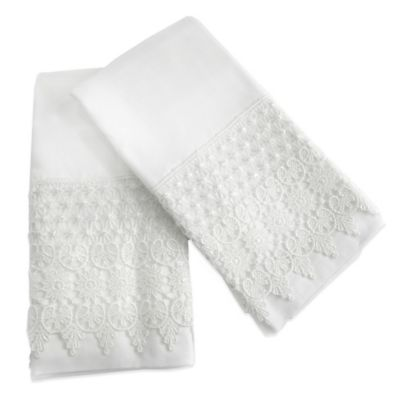 Bonnie Nuit Lace Standard Pillowcases in White (Set of 2)
