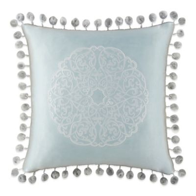 Waterford® Linens Jonet Pompom Square Throw Pillow in Cream/Blue