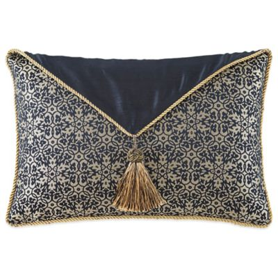 Waterford® Linens Vaughn Breakfast Throw Pillow in Navy/Gold