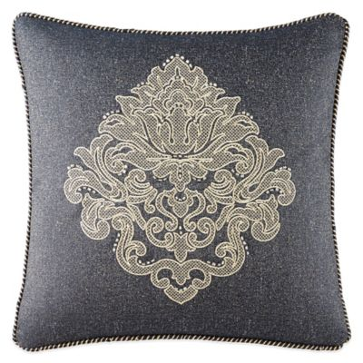 Waterford® Linens Vaughn Medallion Square Throw Pillow in Navy/Gold