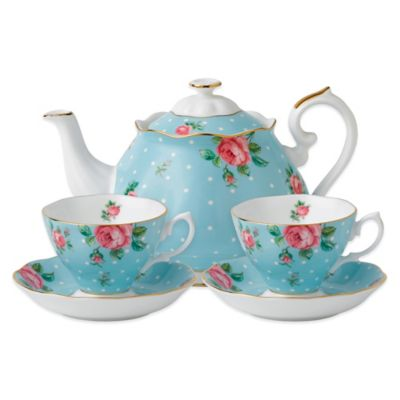 Royal Albert New Country Roses Polka Tea for 2 in Blue
