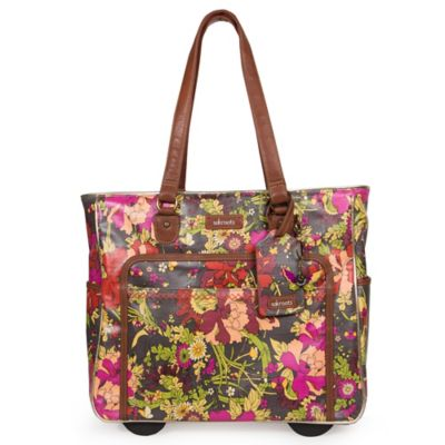 Sakroots Artist Circle Rolling Tote in Slate Flower