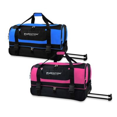 30-Inch Drop-Bottom Rolling Duffle in Blue