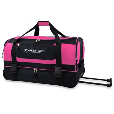 30-Inch Drop-Bottom Rolling Duffle in Pink