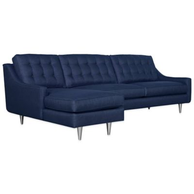 Kyle Schuneman for Apt2B Cloverdale 2-Piece Left Arm Facing Sectional in Navy with Coal Buttons