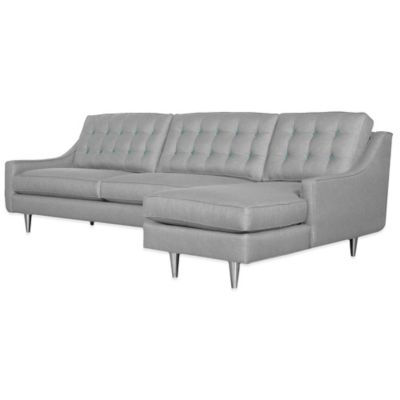 Kyle Schuneman for Apt2B Cloverdale 2-Piece Right Arm Facing Sectional in Grey with Aqua Buttons