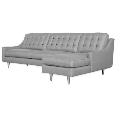 Kyle Schuneman for Apt2B Cloverdale 2-Piece Right Arm Facing Sectional in Grey with Navy Buttons