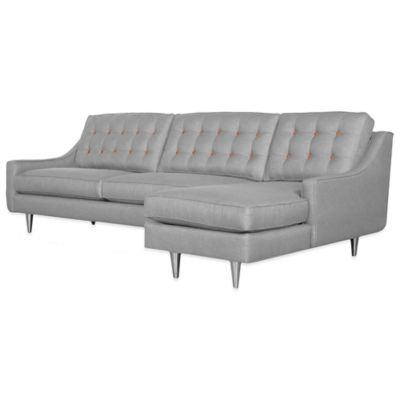 Kyle Schuneman for Apt2B Cloverdale 2-Piece Right Arm Facing Sectional in Grey with Orange Buttons