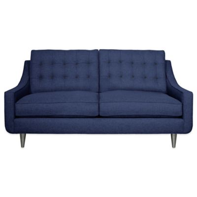 Kyle Schuneman for Apt2B Cloverdale Apartment Sofa in Navy with Pink Lemonade Button Tufting