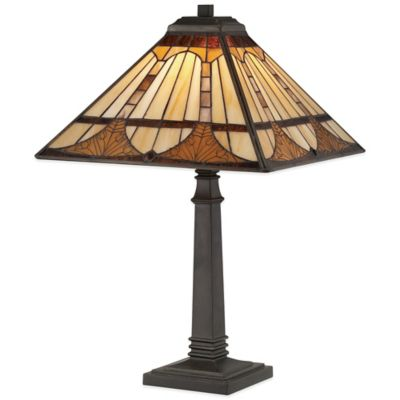 Quoizel Tiffany Timber Table Lamp in Vintage Bronze