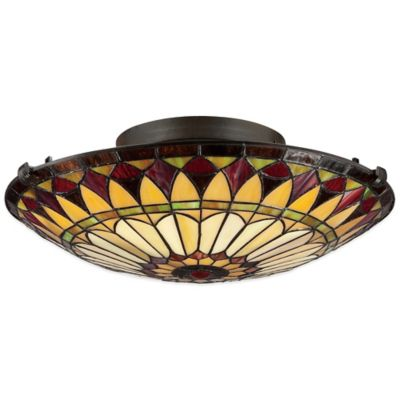 Quoizel Tiffany West End 2-Light Flush-Mount in Bronze