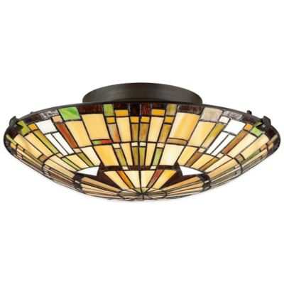Quoizel Tiffany Reed 2-Light Flush Mount in Bronze