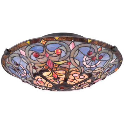 Quoizel Tiffany Carrol 2-Light Flush-Mount Ceiling Fixture in Bronze