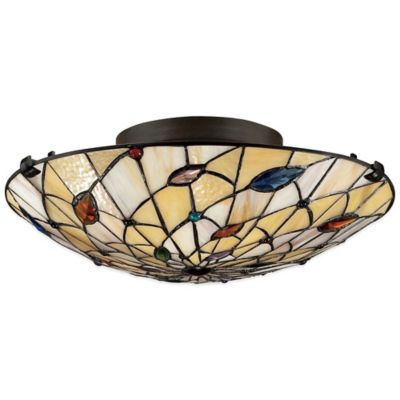 Quoizel Tiffany Graham 2-Light Floating Flush-Mount in Bronze