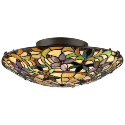 Quoizel Tiffany Kami 2-Light Flush-Mount in Bronze