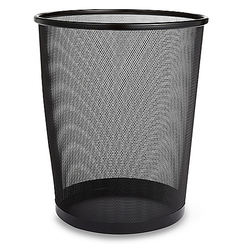 Mesh Metal Wastebasket in Black