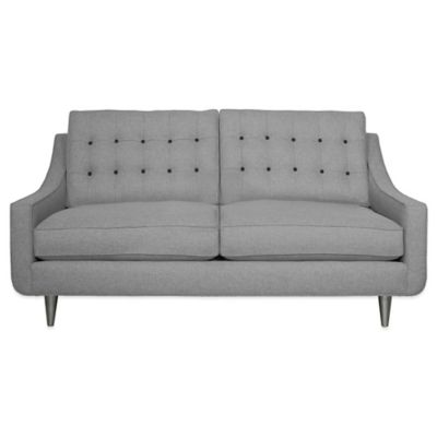 Kyle Schuneman for Apt2B Cloverdale Mini Apartment Sofa in Grey with Sweet Potato Button Tufting