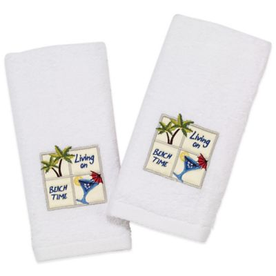 Avanti Tropical Beach Time 2-Pack Fingertip Towels in White