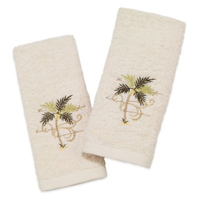 Avanti Tropical Palm Scroll 2-Pack Fingertip Towels in Ivory