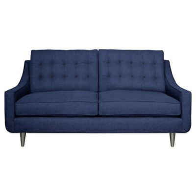 Kyle Schuneman for Apt2B Cloverdale Mini Apartment Sofa in Navy with Coal Button Tufting