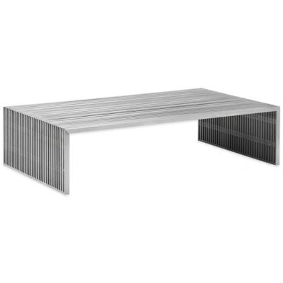 Zuo® Novel Rectangular Coffee Table in Brushed Stainless Steel