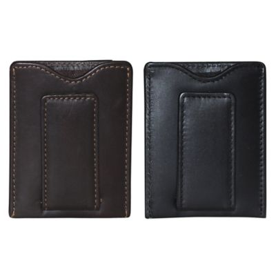 Dopp Leather Regatta Front Pocket Magnetic Money Clip in Black