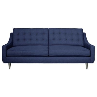 Kyle Schuneman for Apt2B Cloverdale Sofa in Navy with Pink Lemonade Button Tufting