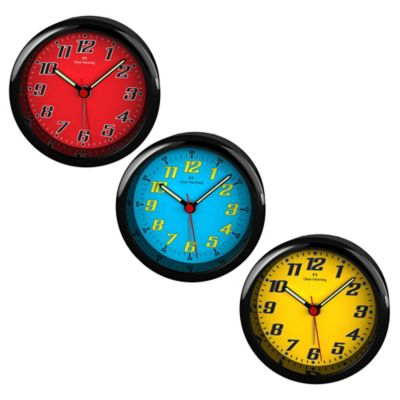 Oliver Hemming City Acrylic Bold Numbered Alarm Clock in Yellow/Black