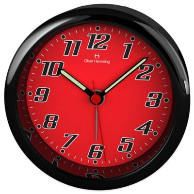 Oliver Hemming City Acrylic Bold Numbered Alarm Clock in Red/Black