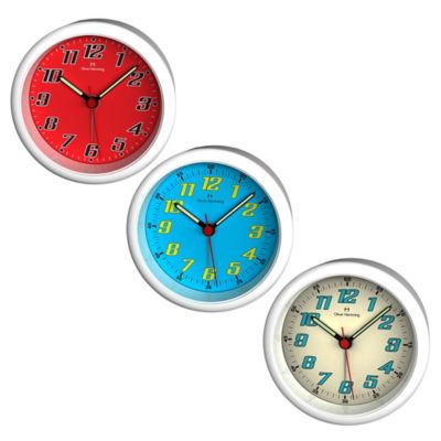 Oliver Hemming City Acrylic Bold Numbered Alarm Clock in Blue/White