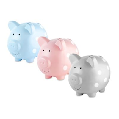 Pearhead Medium Ceramic Polka Dot Piggy Bank in Blue/White
