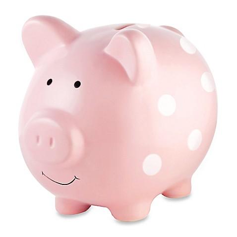 Pearhead Large Ceramic Polka Dot Piggy Bank