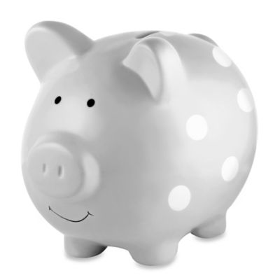 Pearhead Large Ceramic Polka Dot Piggy Bank in Grey/White