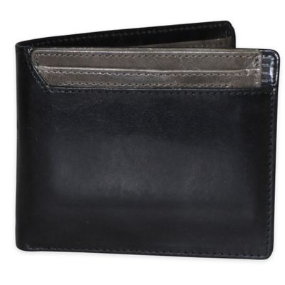 Dopp Alpha RFID-Blocking Leather Thinfold Wallet in Black