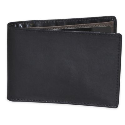 Dopp Alpha RFID-Blocking Leather Slimfold Wallet in Black