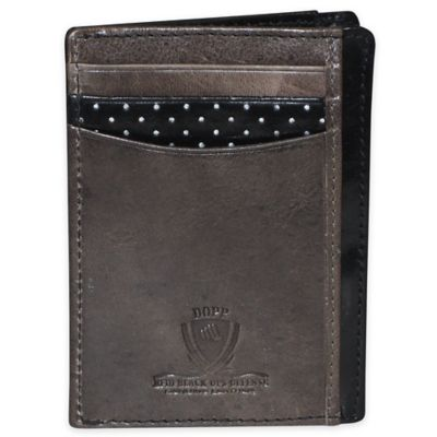 Dopp Alpha RFID-Blocking Leather Front Pocket Get-Away Wallet in Black