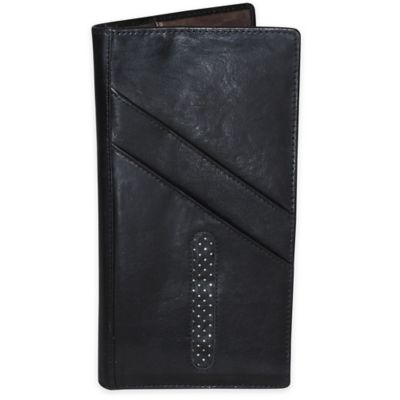 Dopp Alpha RFID-Blocking Leather Passport Travel Wallet in Black